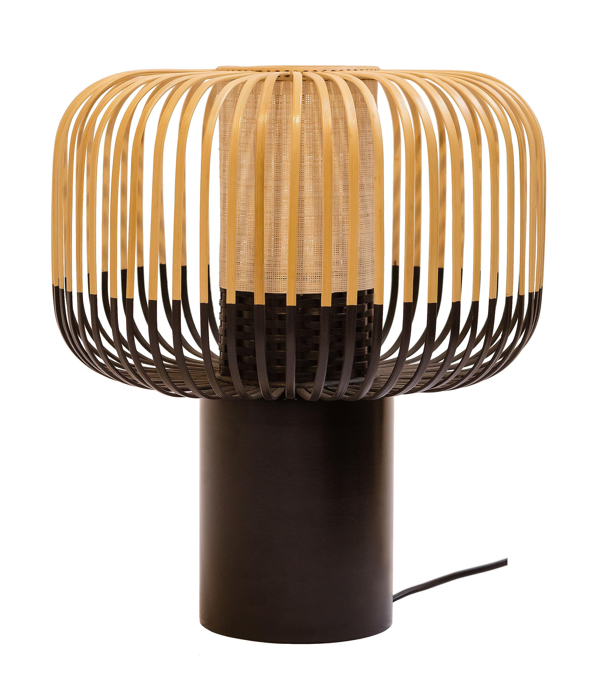 Leuchten - Tischleuchten - Bamboo Light Tischleuchte / H 40 cm x Ø 35 cm - Forestier - H 40 cm - schwarz - Naturbambus
