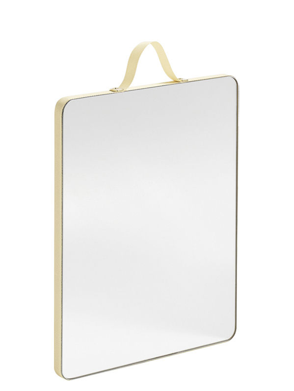 Dekoration - Spiegel - Ruban Medium Wandspiegel / L 16 cm x H 20 cm - Hay - Gelb - Glas, Messing, Plaquage chêne, Polyesterfaser