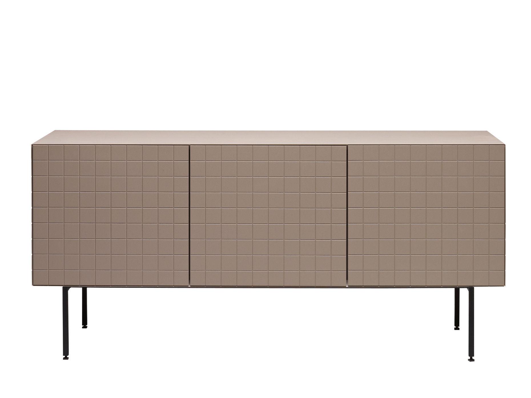 Möbel - Kommode und Anrichte - Toshi Anrichte / Modell N° 3 - L 136 cm x H 61,5 cm, mit Füßen - Casamania - Warmes Grau - lackierte Holzfaserplatte, Metall