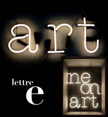 Illuminazione - Lampade da parete - Applique con presa Neon Art - Lettera E di Seletti - bianco / cavo nero - Vetro