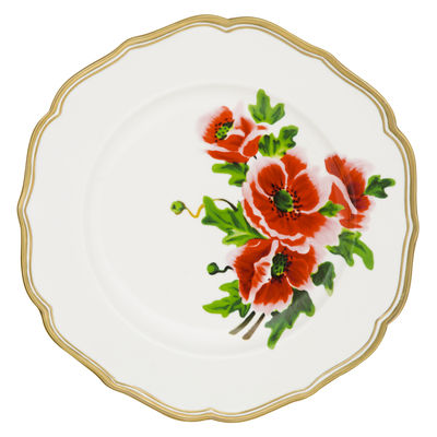 Assiette Fiore francese / Ø 27 cm - Bitossi Home blanc,rouge,or en céramique