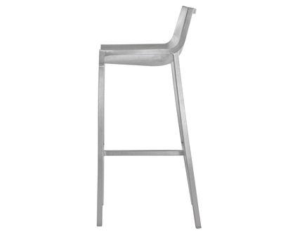 Furniture - Bar Stools - Sezz Bar chair - H 76 cm - Aluminium by Emeco - Brushed aluminium - Brushed-finish recycled aluminium