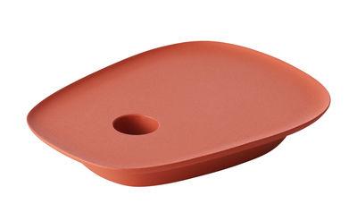 Déco - Bougeoirs, photophores - Bougeoir Float / Fonte d'aluminium - Muuto - Rouge tangerine - Fonte d'aluminium