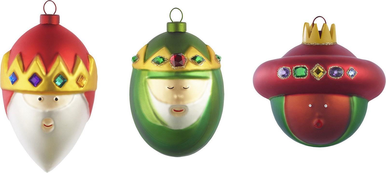 Déco - Objets déco et cadres-photos - Boule de Noël / Set de 3 : les Rois mages - A di Alessi - Rois mages / Multicolore - Verre soufflé