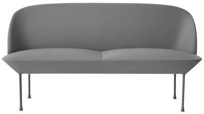 Mobilier - Canapés - Canapé droit Oslo / L 150 cm - 2 places - Muuto - Gris clair - Acier, Aluminium, Mousse, Tissu Kvadrat