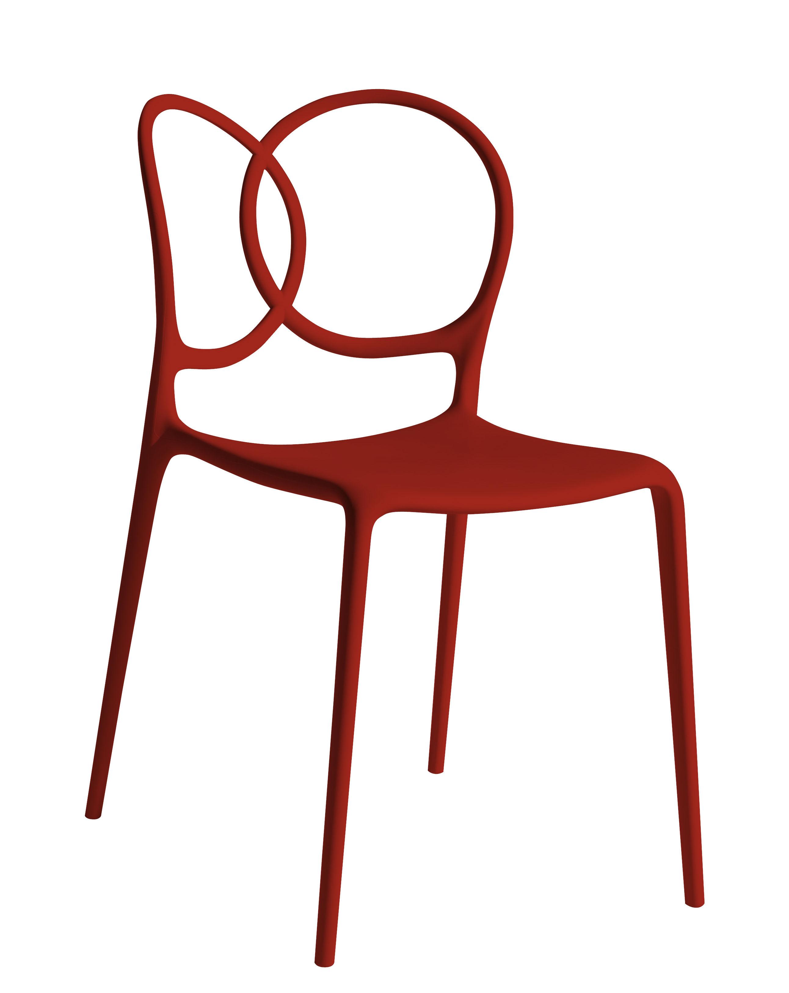 Mobilier - Chaises, fauteuils de salle à manger - Chaise empilable Sissi Outdoor - Driade - Rouge - Fibre de verre, Polyéthylène, Polypropylène