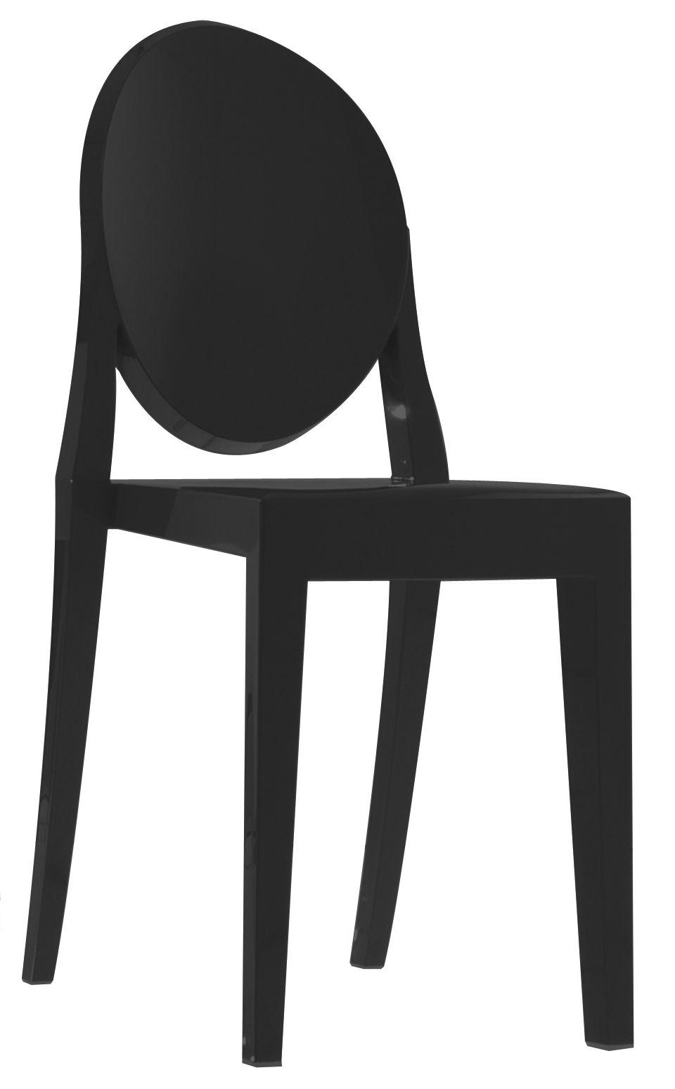 Mobilier - Chaises, fauteuils de salle à manger - Chaise empilable Victoria Ghost opaque/ Polycarbonate - Kartell - Noir opaque - Polycarbonate