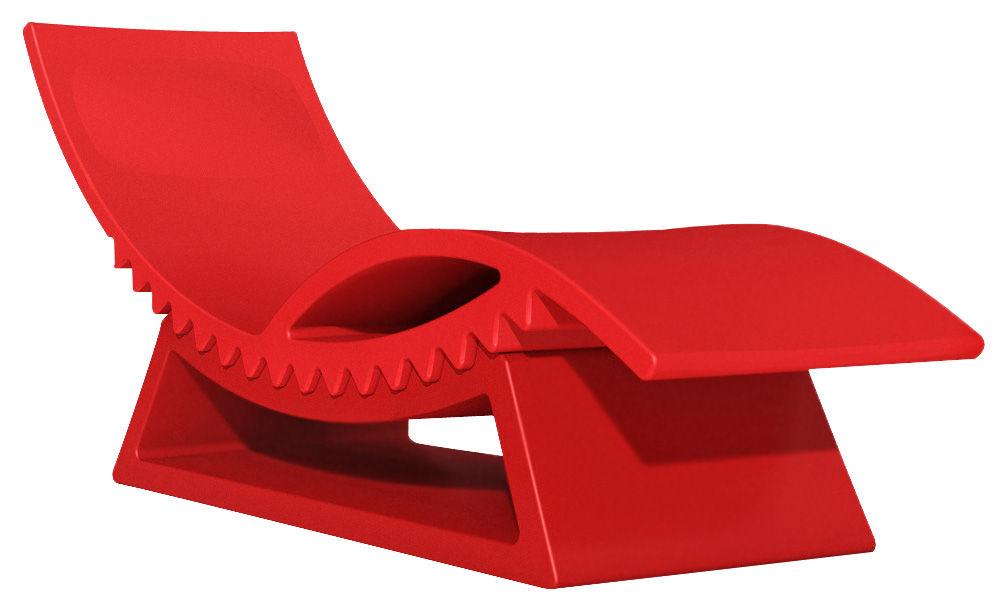 Outdoor - Chaises longues et hamacs - Chaise longue TicTac / Avec table basse - Slide - Rouge - polyéthène recyclable