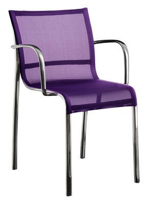 Fauteuil empilable Paso Doble / Toile - Alu poli - Magis chromé,violet en tissu
