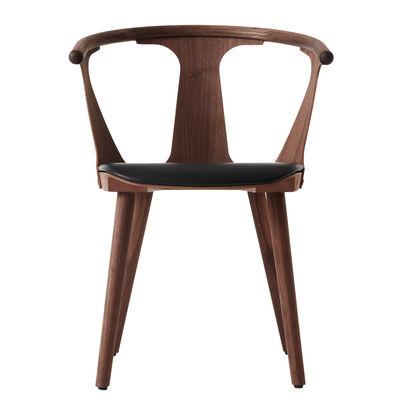 Mobilier - Chaises, fauteuils de salle à manger - Fauteuil In Between SK2 / Noyer & assise cuir - &tradition - Noyer / Cuir noir (Silk) - Cuir Silk, Mousse, Noyer huilé