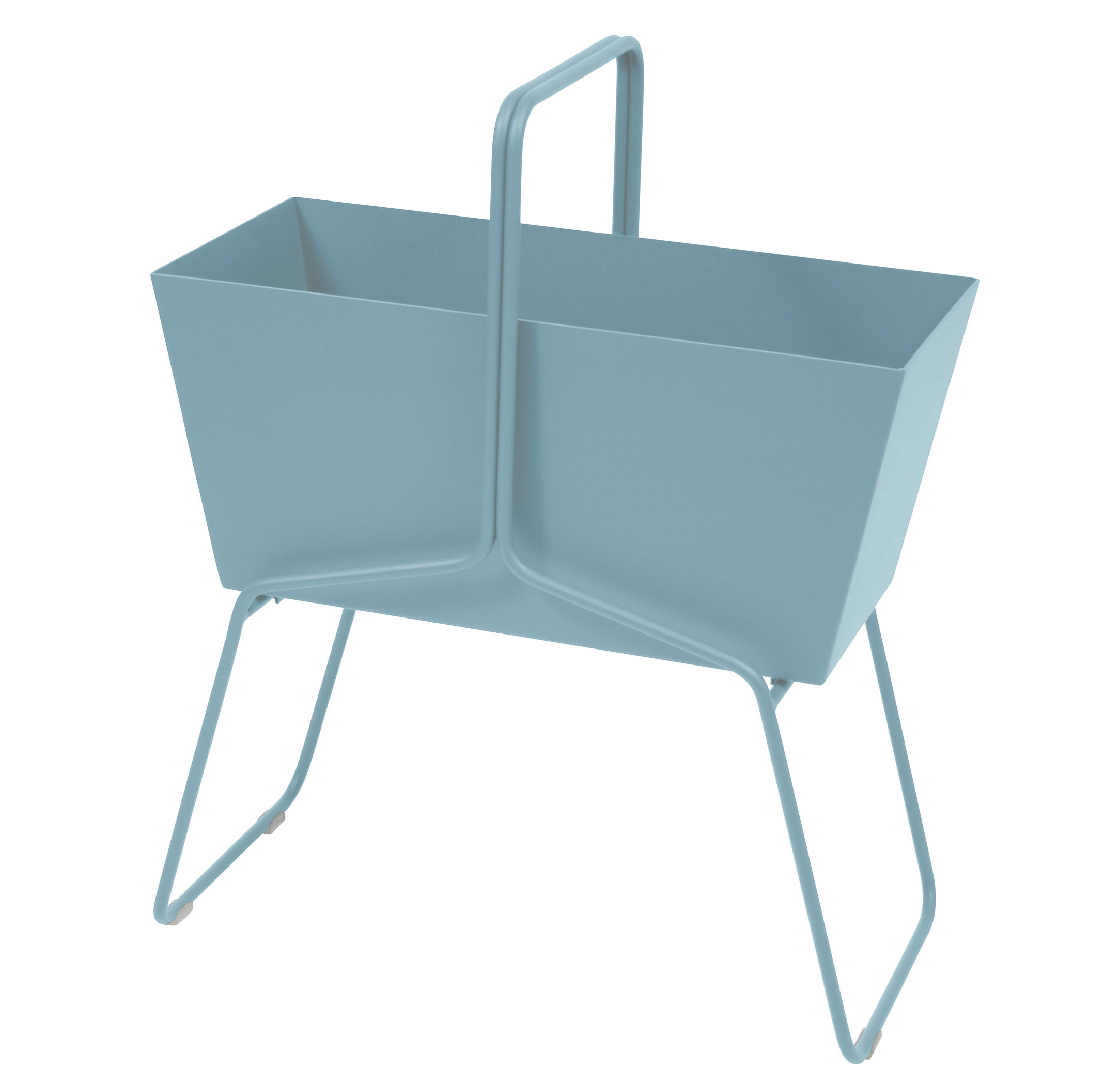 Outdoor - Pots & Plants - Basket Flowerpot - L 70 x H 84 cm by Fermob - Blue Fjord - Aluminium, Steel