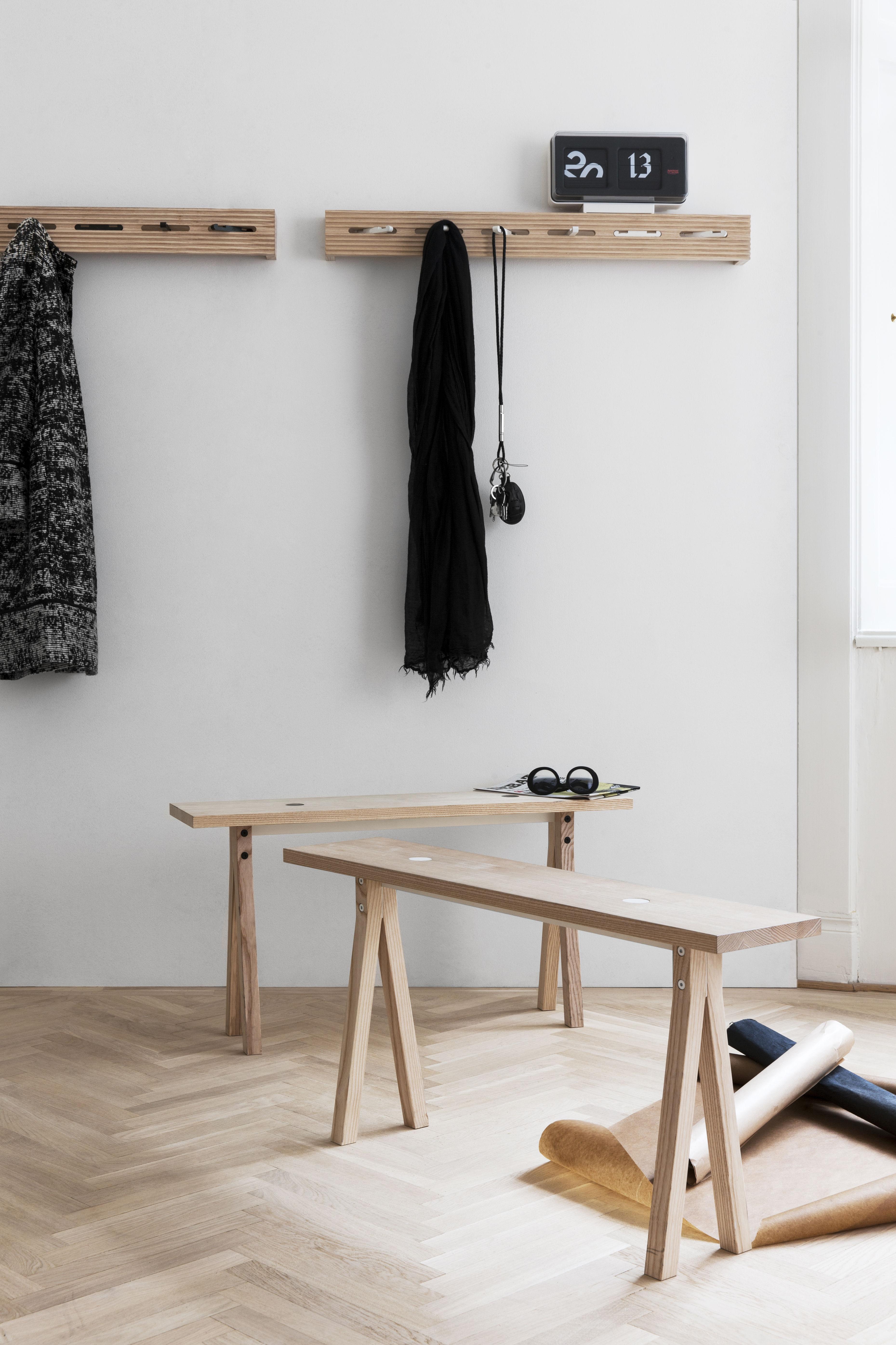 line up garderobe l 90 cm holz natur haken schwarz. Black Bedroom Furniture Sets. Home Design Ideas
