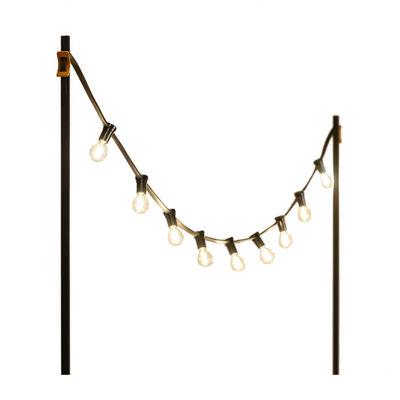 Illuminazione - Illuminazione da esterni - Ghirlanda luminosa per l'esterno Light My Table - / Con ancoraggi per il piano del tavolo di Vincent Sheppard - nero - Acciaio termolaccato, Neoprene, Pelle
