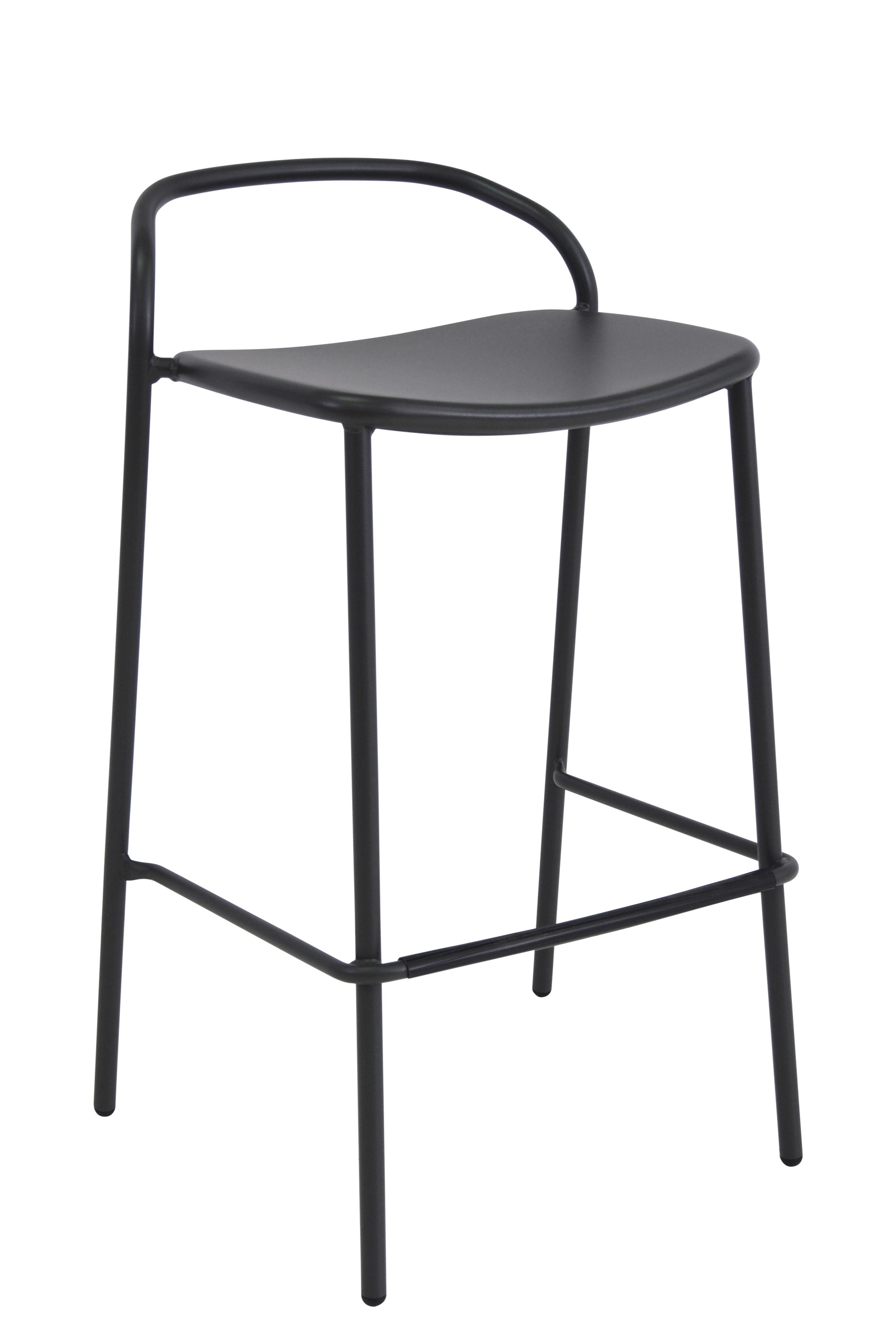 Möbel - Barhocker - Zahir Hochstuhl / H 75 cm - Metall - Emu - Eisen (dunkel) - gefirnister Stahl