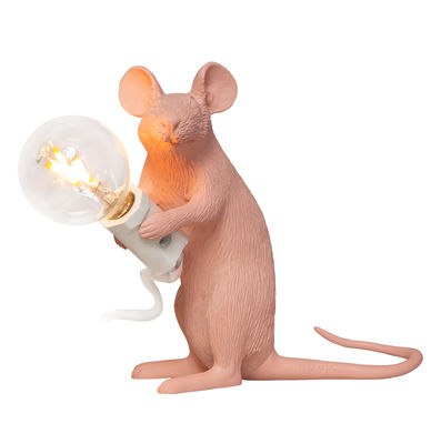 Illuminazione - Lampade da tavolo - Lampada da tavolo Mouse Sitting #2 - /  Edizione limitata 20 anni MID di Seletti - Rosa - Resina