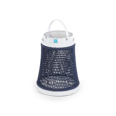 Illuminazione - Lampade da tavolo - Lampada solare Solare - / corda sintetica - H 40 cm / Ricarica solare o USB di Unopiu - Bleu marine / Alluminio Bianco - Alluminio, Corda sintetica