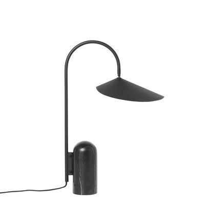 Mobilier - Tables basses - Lampe de table Arum / Métal & marbre - Orientable - Ferm Living - Noir - Acier laqué époxy, Marbre