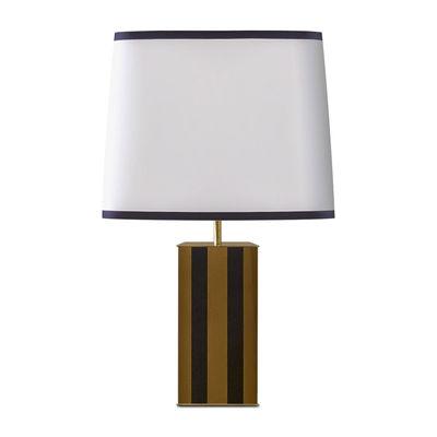 Luminaire - Lampes de table - Lampe de table Elysée / H 71 cm - Bois laqué & tissu - RED Edition - Noir & Moutarde / Abat-jour blanc - Bois laqué, Laiton, Lin