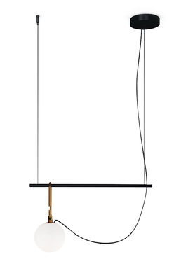 Lighting - Pendant Lighting - nh S1 Pendant - / Blown glass & brass by Artemide - Ø 14 cm / Black & brass - Blown glass, Brushed brass, Metal