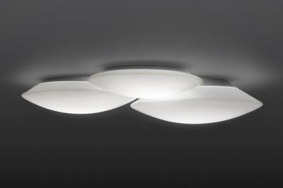 Plafonnier Puck Triple / 56 x 49 cm - Vibia blanc en verre