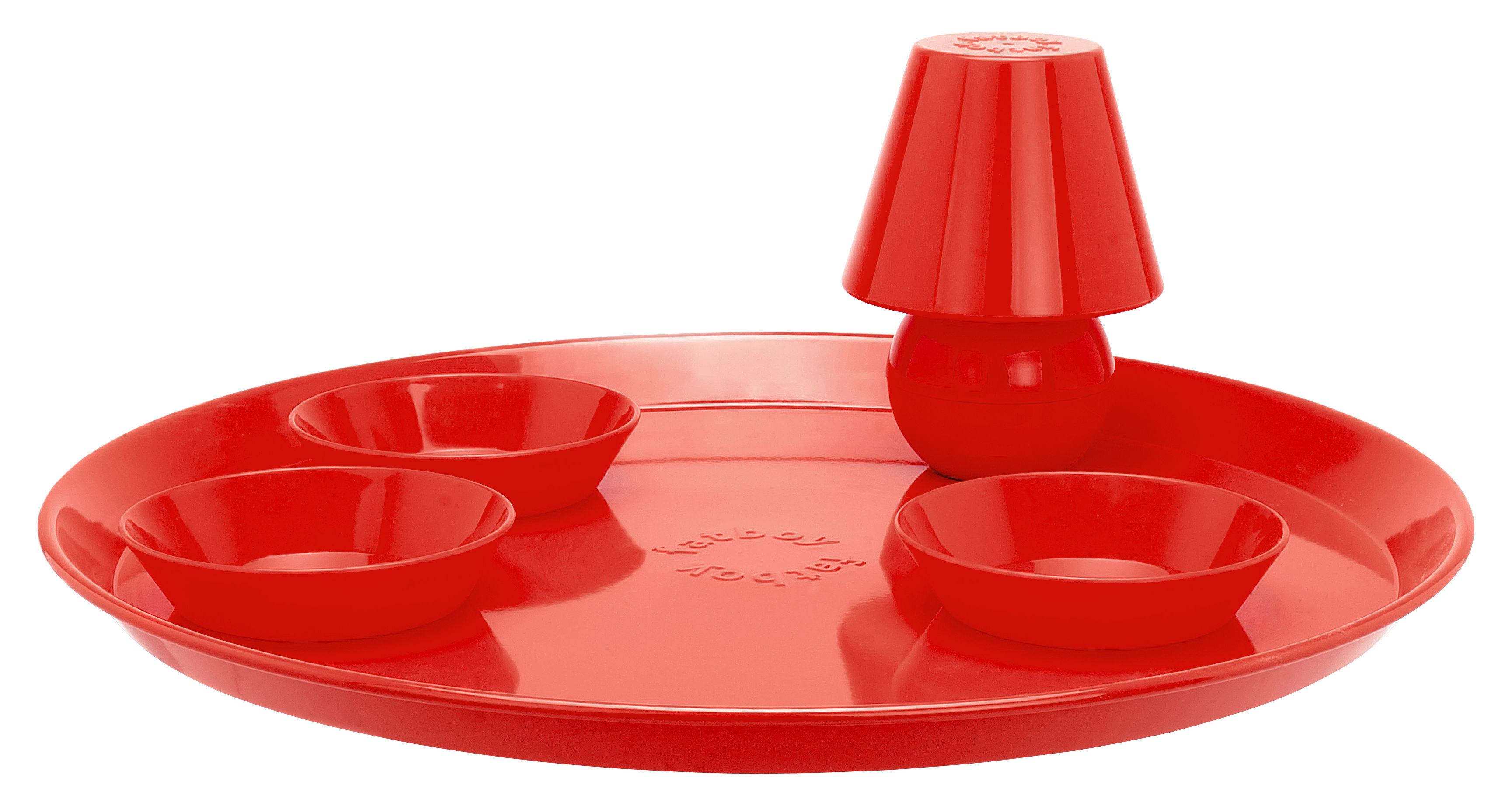 Arts de la table - Plateaux - Plateau Snacklight Ø 55 cm / Avec lampe LED aimantée + 3 coupelles - Fatboy - Rouge - Métal laqué