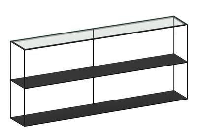 Furniture - Bookcases & Bookshelves - Slim Irony Shelf - L 180 x H 82 cm by Zeus - Black copper / Glass top - Painted steel, Reinforced glass