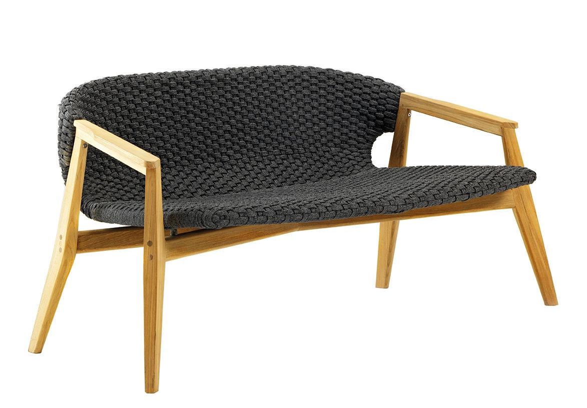 Möbel - Sofas - Knit Sofa / L 140 cm - Synthetikfaden - Ethimo - Lavagrau / Teakholz - Natürliches Teakholz, Synthetisches Seil