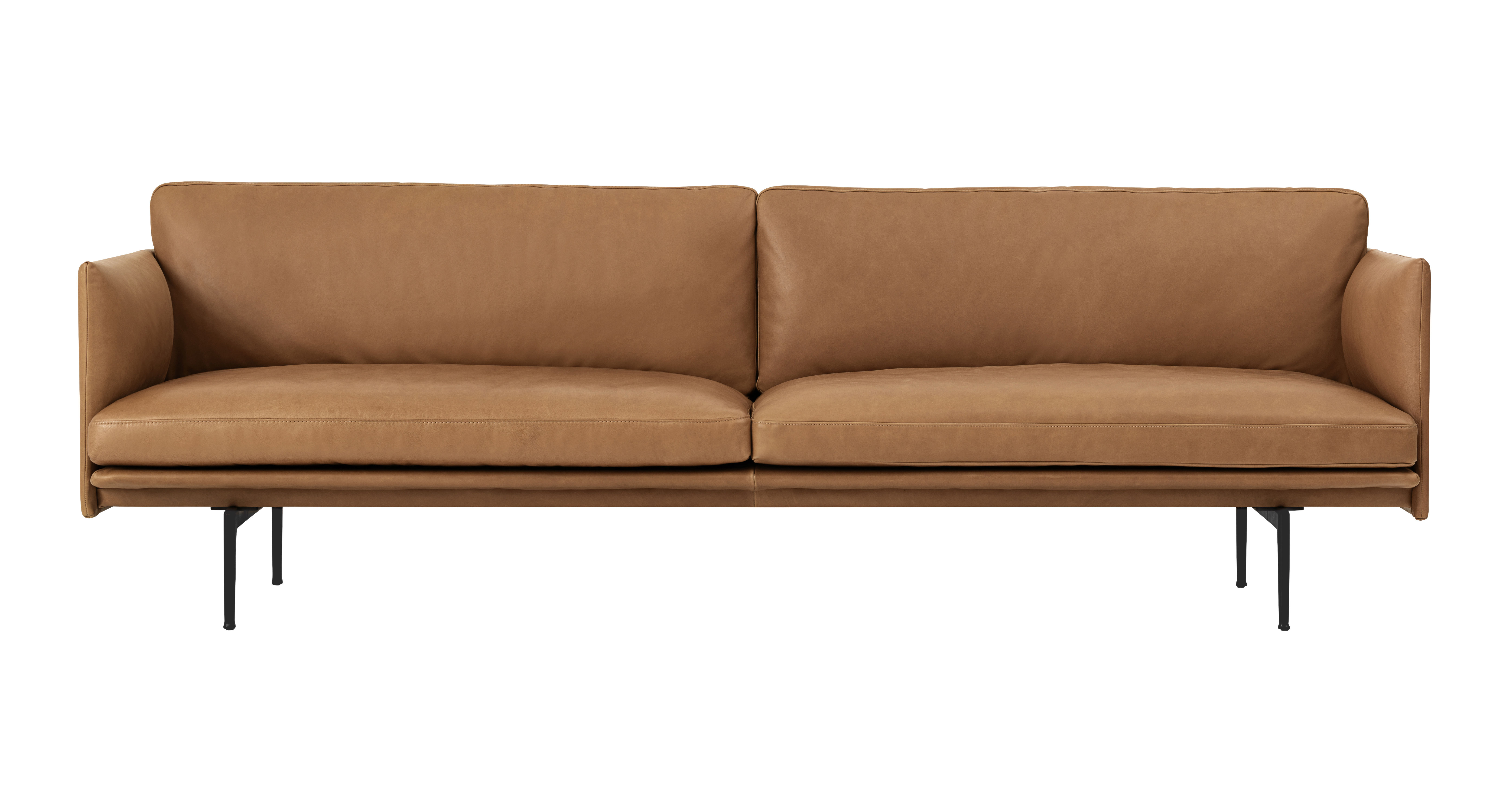 Möbel - Sofas - Outline Sofa / 3-Sitzer - L 220 cm - Leder - Muuto - Lederbezug cognacfarben / Füße schwarz -  Plumes, Cuir pleine fleur, High Density-Schaum, lackiertes Aluminium