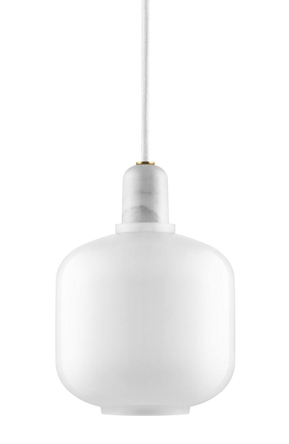 Illuminazione - Lampadari - Sospensione Amp Small / Ø 14 x H 17 cm - vetro & marmo - Normann Copenhagen - Bianco / Marmo bianco - Marmo, Vetro