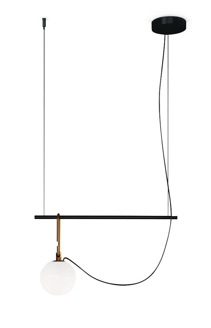 Illuminazione - Lampadari - Sospensione nh S1 - / Vetro soffiato & ottone di Artemide - Ø 14 cm / nero & ottone - Metallo, Ottone spazzolato, vetro soffiato