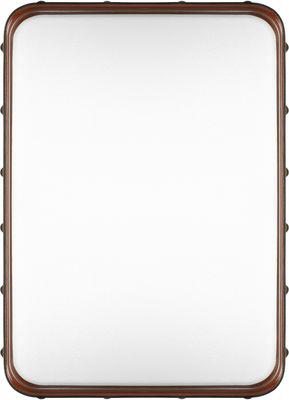 Interni - Specchi - Specchio murale Adnet - / 70 x 48 cm - Riedizione 50' di Gubi - Cuoio naturale - Ottone, Pelle