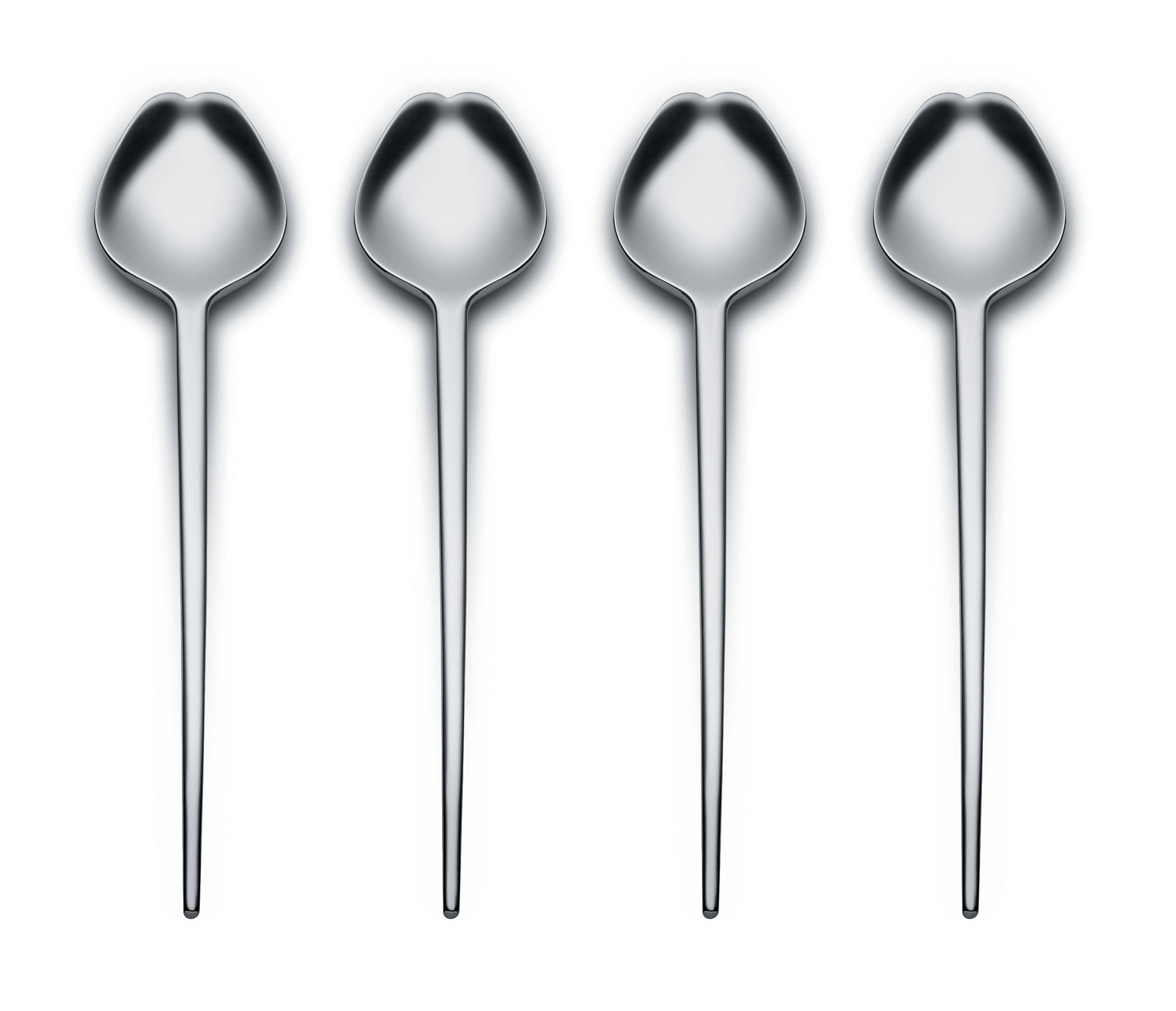 Tableware - Cutlery - Human Collection Spoon - Set of 4 - By Bruno Moretti and Guy Savoy by Alessi - Shiny steel - Stainless steel 18/10