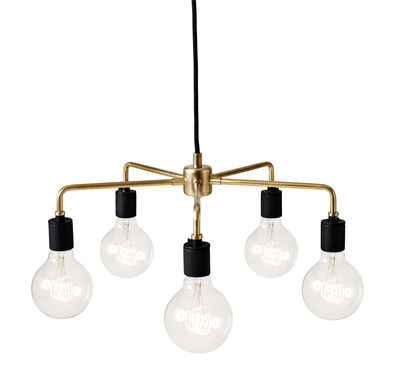 Luminaire - Suspensions - Suspension Leonard Chandelier / Ø 46 cm - Menu - Laiton - Laiton, Porcelaine
