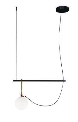 Luminaire - Suspensions - Suspension nh S1 / Globe Ø 14 - L 58 cm - Artemide - Ø 14 cm / Noir & laiton - Laiton brossé, Métal, Verre soufflé