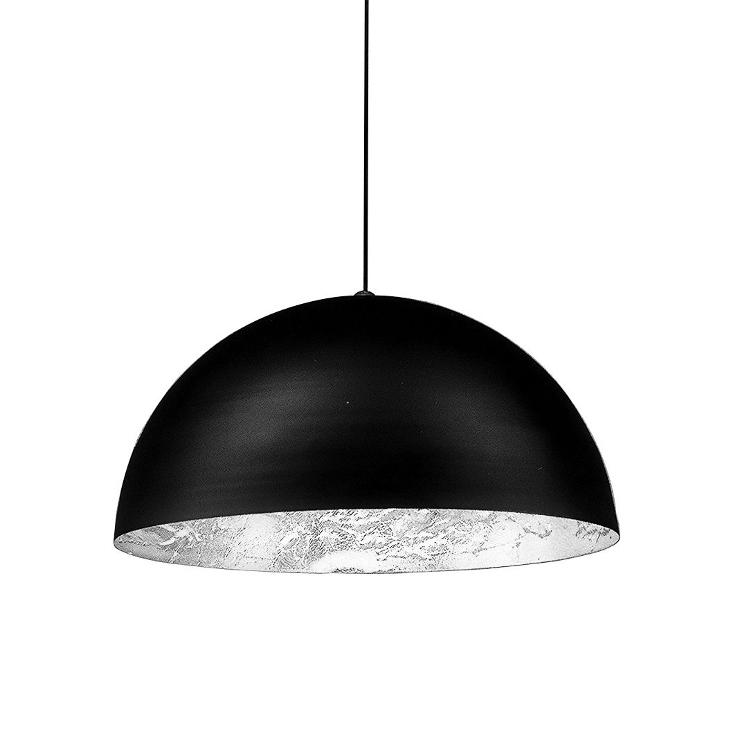 Luminaire - Suspensions - Suspension Stchu-Moon 02 / LED - Ø 60 cm - Catellani & Smith - Noir & argent - Aluminium, Feuille d'argent, Mousse polyuréthane