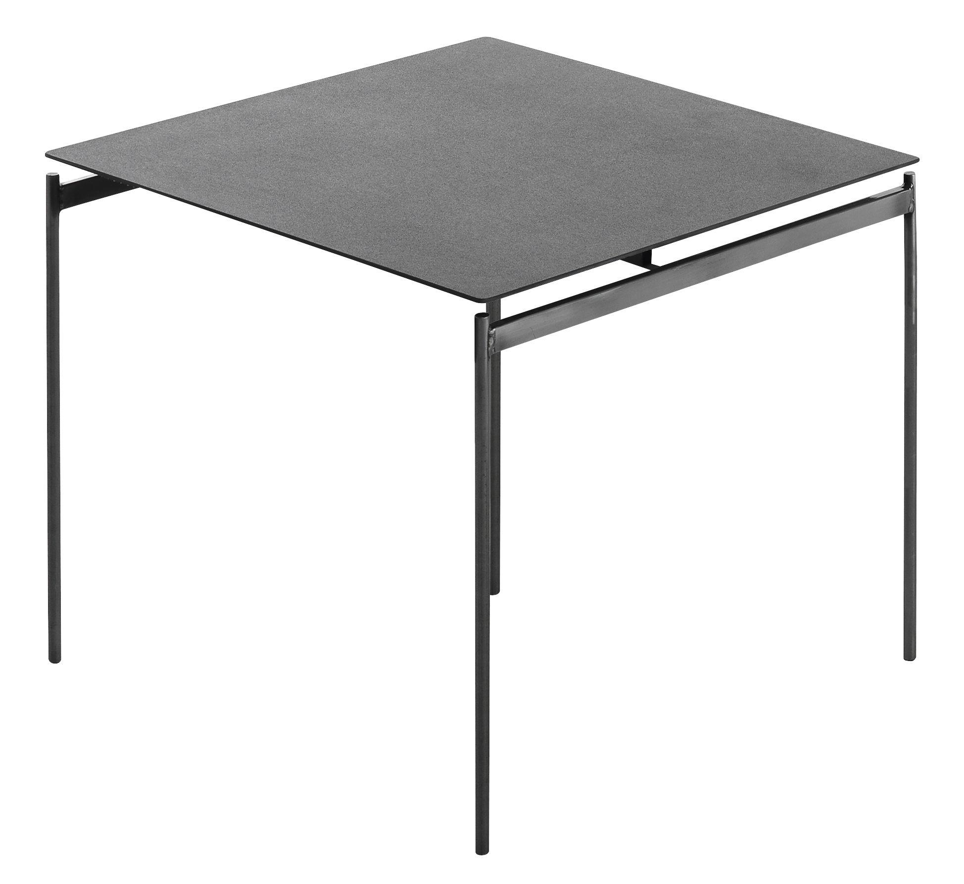 Mobilier - Tables basses - Table d'appoint Torii / 48 x 43 x H 40 cm - Céramique - Horm - Céramique grise / Pied métal brut - Céramique, Métal brut
