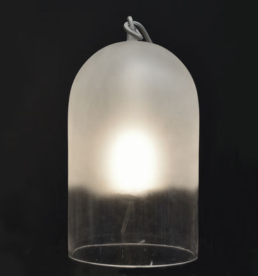 Lighting - Table Lamps - Dewy Large Table lamp - H 42 cm / Glass by ENOstudio - White / Transparent bottom - Sandblasted blown glass