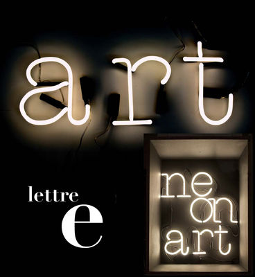 Lighting - Wall Lights - Neon Art Wall light with plug - Letter E by Seletti - White / Black cable - Glass