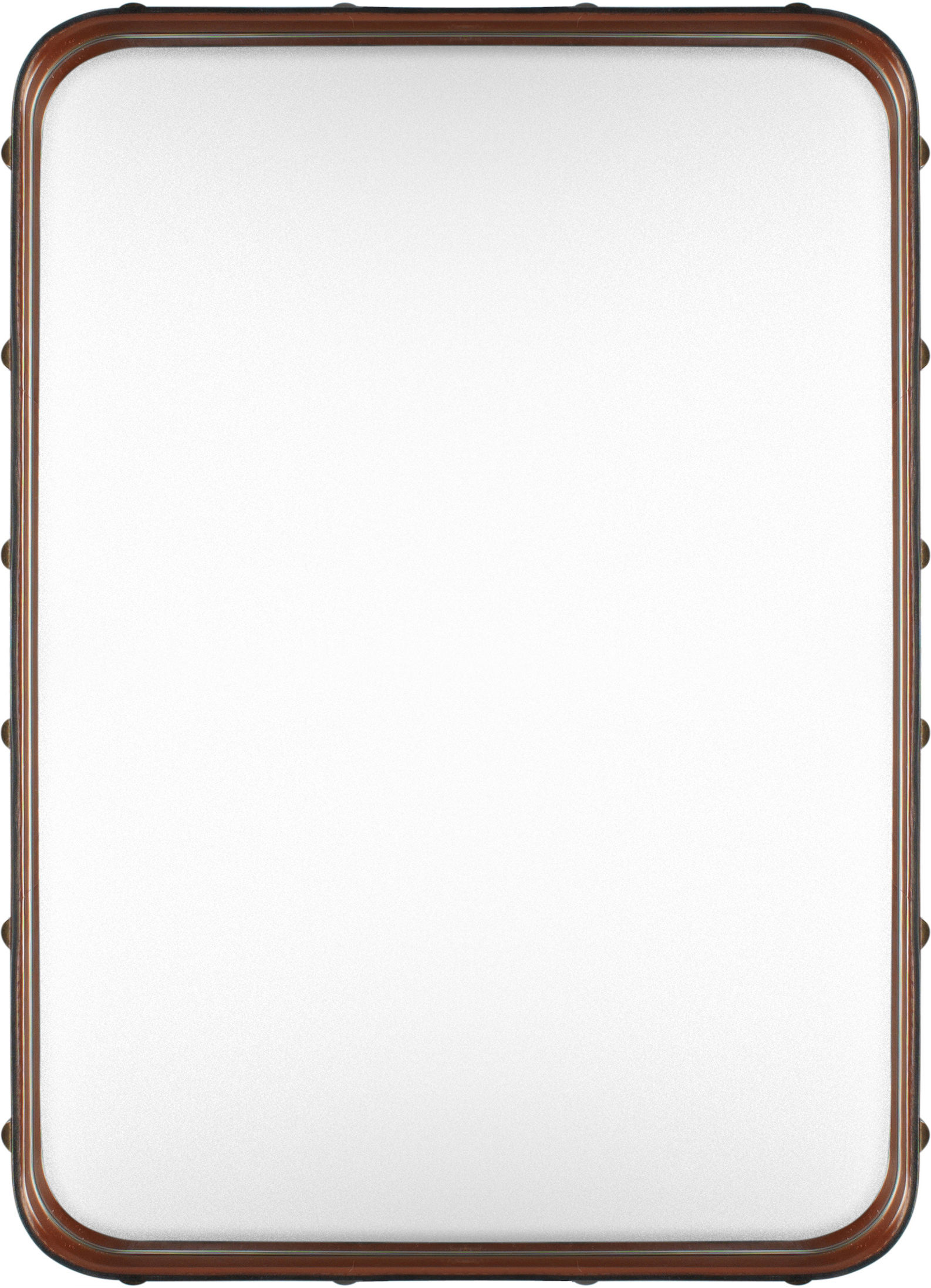 Decoration - Mirrors - Adnet Wall mirror - Rectangular - 70 x 48 cm by Gubi - Natural leather - Brass, Leather