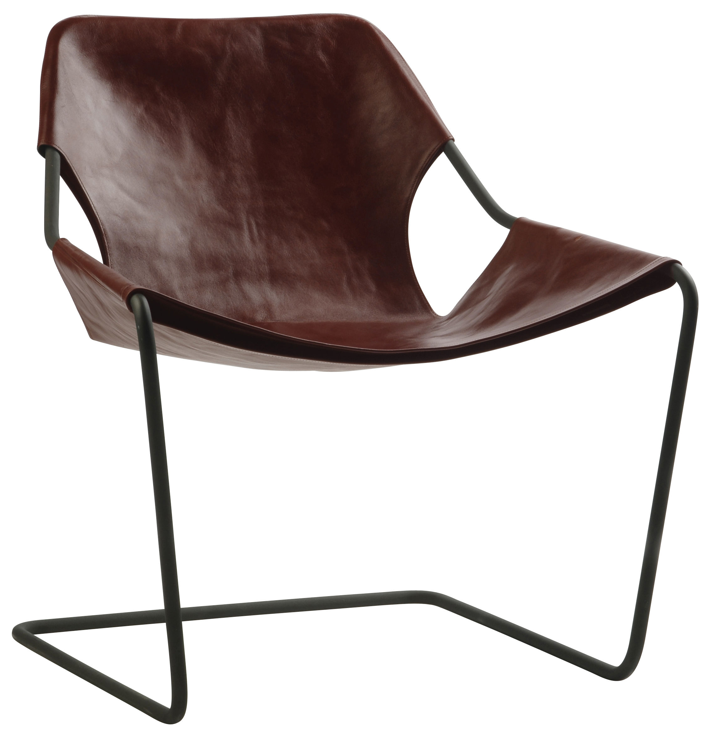 Furniture - Armchairs - Paulistano Armchair - Carbon version by Objekto - Cognac - Leather, Phosphated carbon