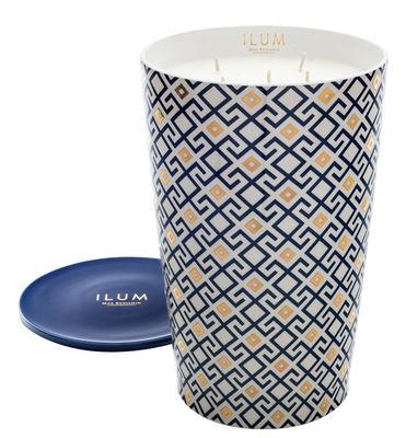 Bougie parfumée Ilum / Arabesque de figues - Ø 21 x H 32 cm - Max Benjamin bleu en verre