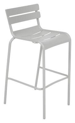 Chaise de bar Luxembourg / H 80 cm - Aluminium - Fermob gris/argent/métal en métal