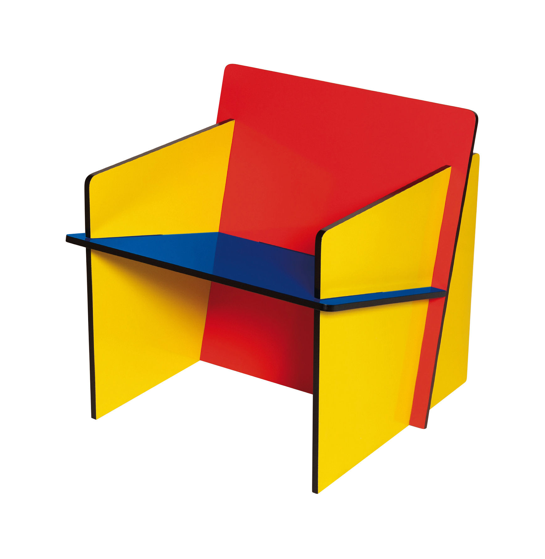 Furniture - Kids Furniture - Bauchair Children armchair by Seletti - Red, blue and yellow - MDF