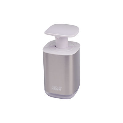 Accessori - Accessori bagno - Dispenser per sapone Presto Steel - / Igienico - Acciaio di Joseph Joseph - Acciaio e bianco - Acciaio inossidabile, Materiale plastico