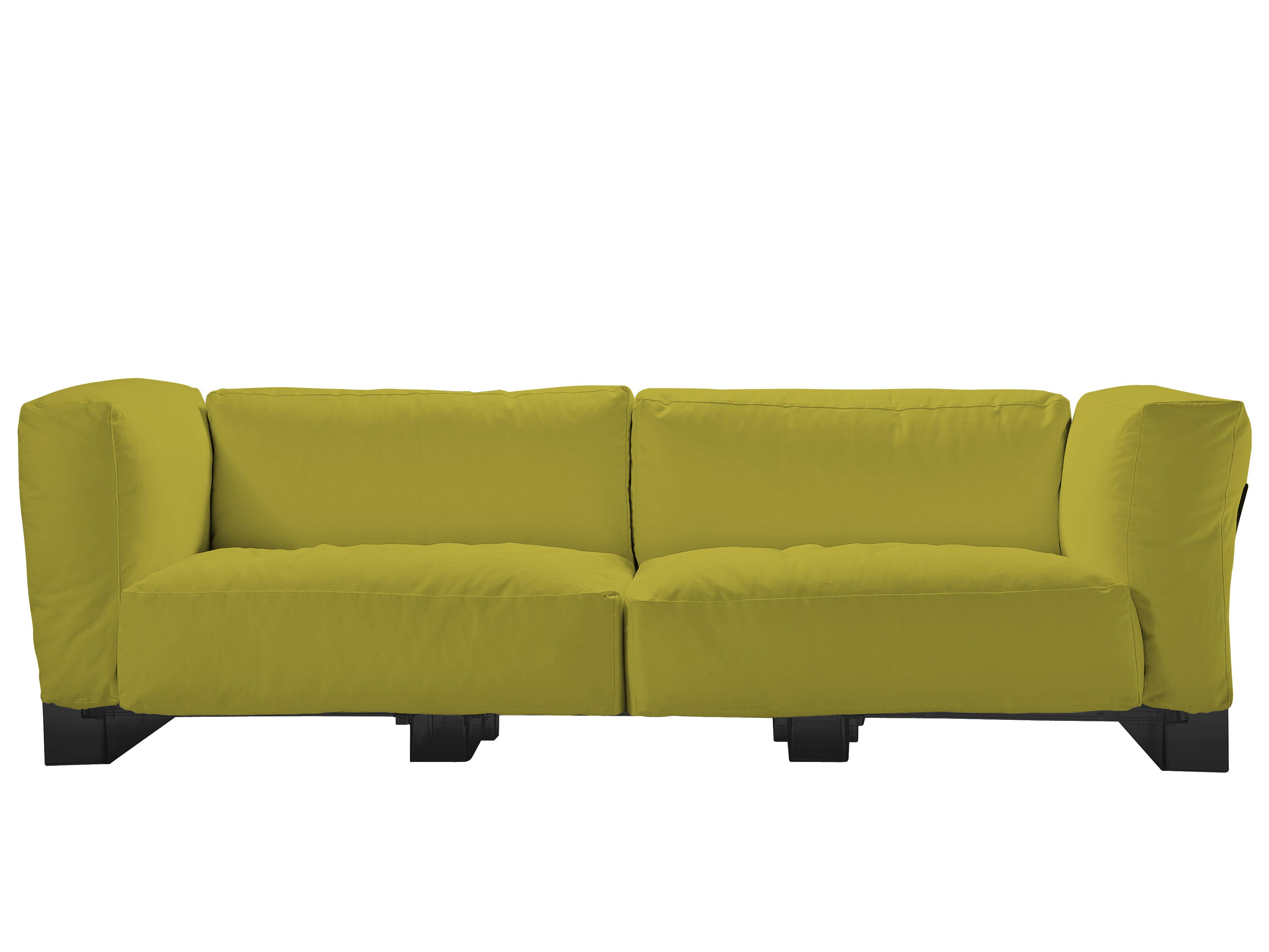 Arredamento - Divani moderni - Divano destro Pop Duo - Struttura nera di Kartell - Verde - policarbonato, Tessuto