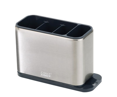 Cuisine - Vaisselle et nettoyage - Egouttoir à couverts Surface / Avec récupérateur d'eau - Joseph Joseph - Acier & noir - Acier inoxydable, Matière plastique
