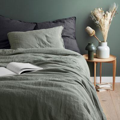 Decoration - Bedding & Bath Towels - duvet cover 260 x 240 cm - / 260 x 240 cm - Washed linen by Au Printemps Paris - Striped khaki - washed linen