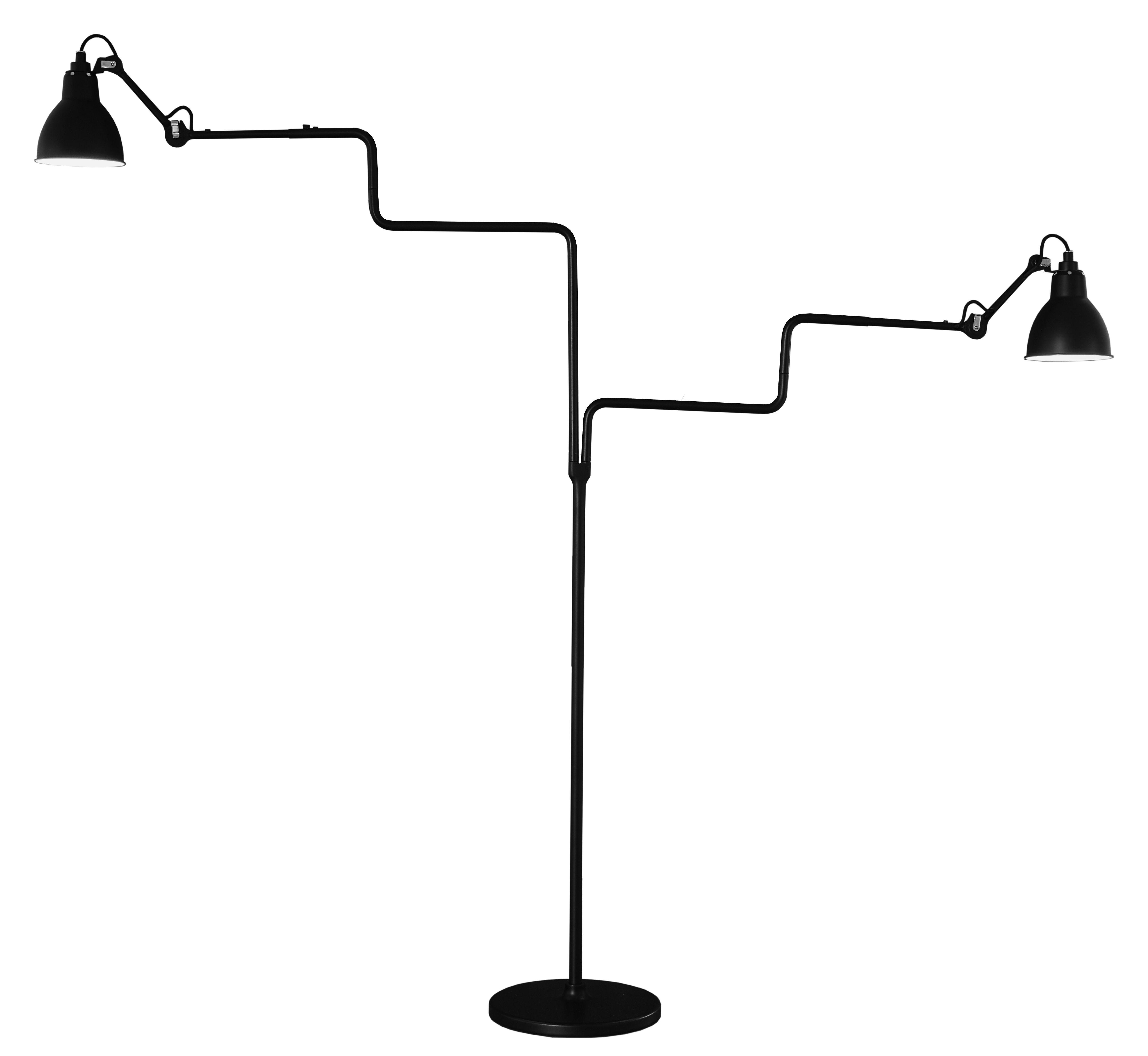 Luminaire - Lampadaires - Lampadaire N° 411 Double / Lampe Gras - DCW éditions - Noir satiné - Acier, Aluminium