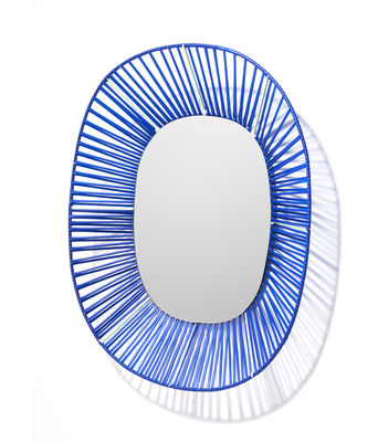 Decoration - Mirrors - Cesta Mirror - Oval - 47 x 54 cm by ames - Blue - Glass, Lacquered steel, Recycled PVC threads