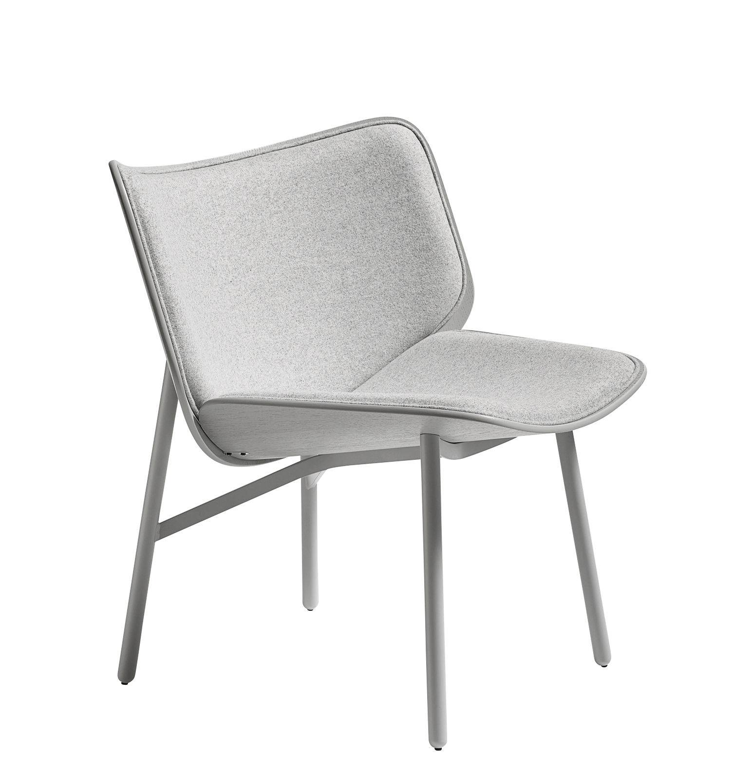 Furniture - Armchairs - Dapper Padded armchair - / Fabric by Hay - Grey - Epoxy lacquered steel, Foam, Kvadrat fabric, Tinted oak plywood
